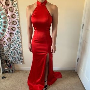 Sherri Hill Red Satin Prom Dress